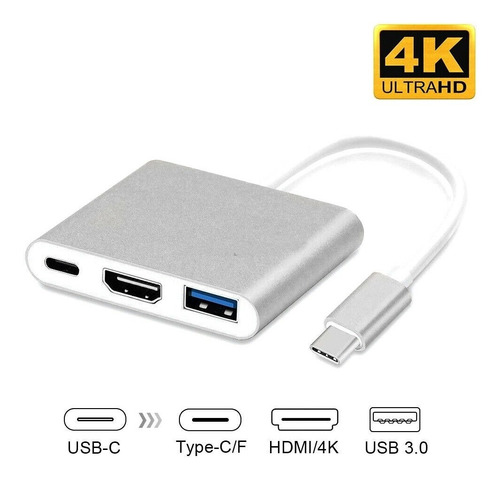 adaptador usb c a hdmi 3 en 1 macbook pro usb 3.0 usb tipo c
