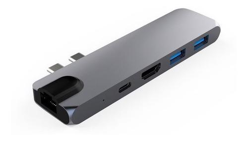 adaptador usb c hub mac macbook air pro hdmi  4k 40gbs aluminio usb 3.0 micro sd para 1708 a1706 a1932