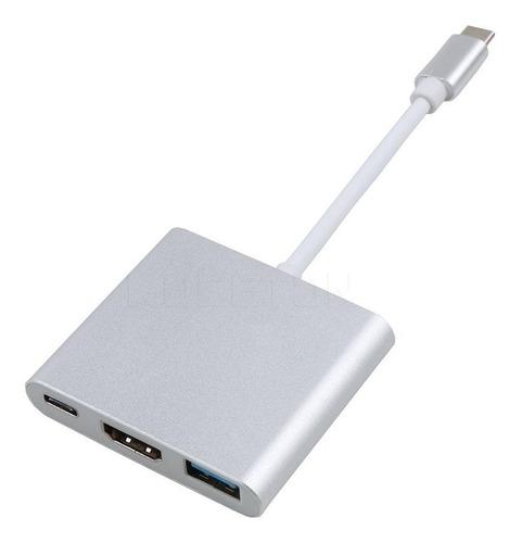 adaptador usb c multipuerto a: hdmi  - usb 3.0 - usb c 4k