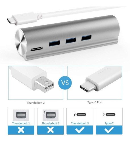 adaptador usb-c / usb 3 unitek hub 3 port usb 3 + g ethernet