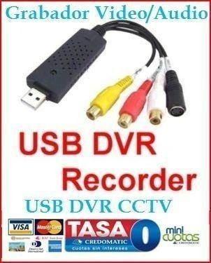 adaptador usb dvr cctv rca captura video audio grabar en pc