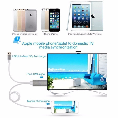 adaptador usb lightning a hdmi ipad iphone i5 5s 6 6s 7 7+