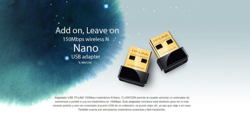 adaptador usb nano inalámbrico n 150mbps tl-wn725n jazz pc