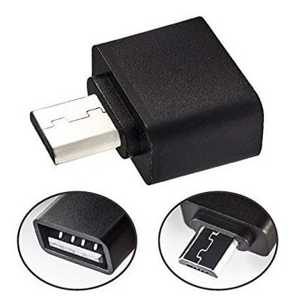 adaptador usb otg android en color blanco y negro