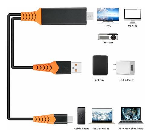 adaptador usb tipo c usb 3.1 a hdmi 4k 60hz - cable hdtv 2mt