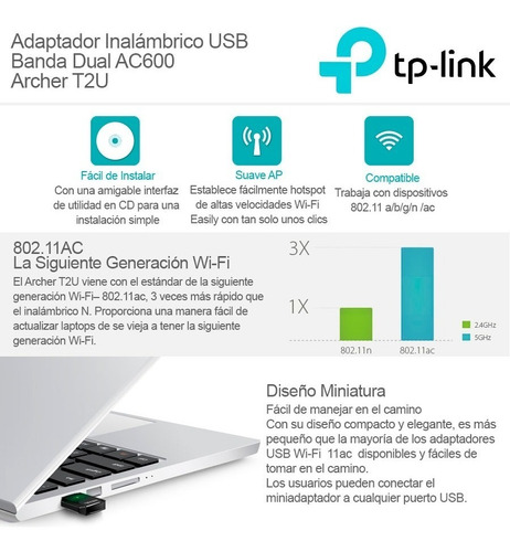 adaptador usb wifi dual band ac600 tp-link archer t2u