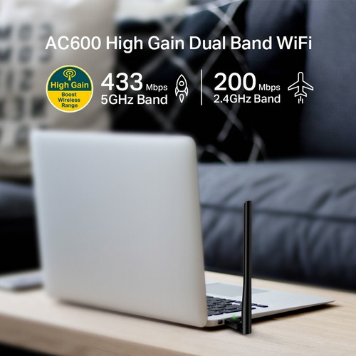 adaptador usb wifi dual band ac600 tp-link archer t2u plus