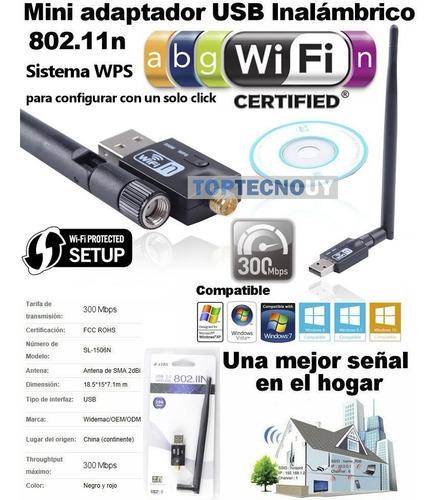 adaptador usb wifi inalambrico 802.11n 300mb wireless+antena