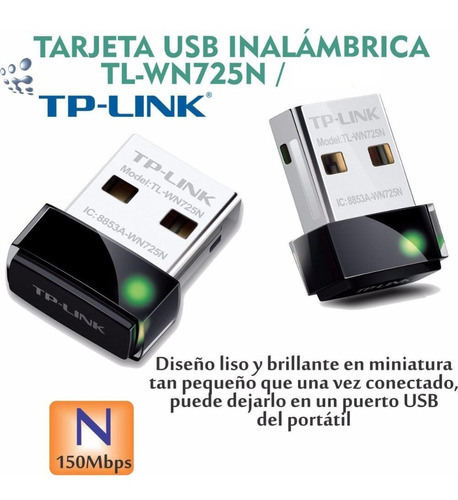 adaptador usb wifi mini tp-link tl-wn725n 150mbp 19 01 1126