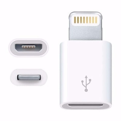 adaptador v8 a lighting iphone 5/5c/5s/6/6s/6s plus/7/7s