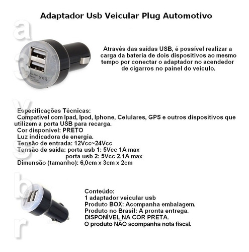 adaptador veicular usb iphone tablet celular ipad ipod gps