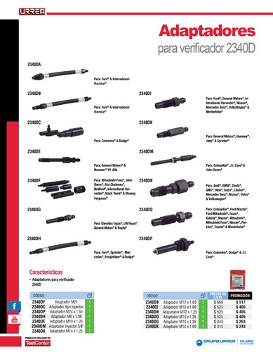 adaptador verificador compresión motores diésel 2340dc urrea