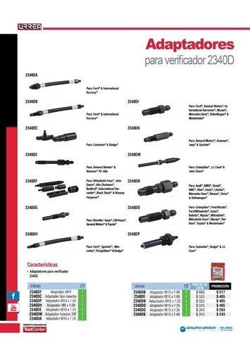 adaptador verificador compresión motores diésel 2340do urrea