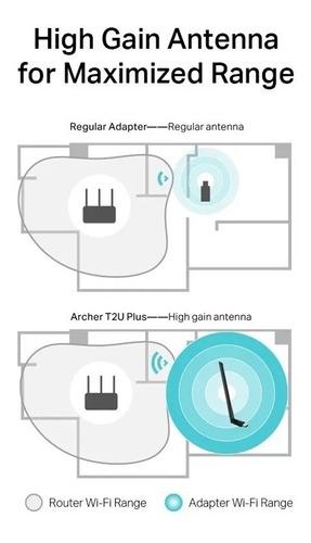 adaptador wifi usb tp-link archer t2u plus ac600 dualband