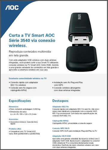 adaptador wireless aoc smart tv serie d3540 - original