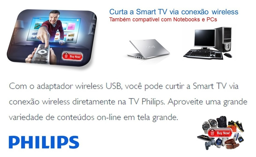 14483f291b4fe Adaptador Wireless Pta01 P  Tvs Philips Smart