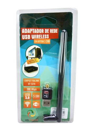 adaptador wireless usb wifi 150mbp lan bgn c/ antena 2 dbi