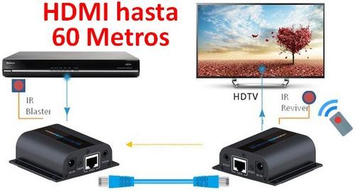 adaptadores extension hdmi hasta 60mts con cable utp rj45