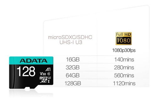 adata memoria micro sd hx 128gb clase 10 100% original a1 /k