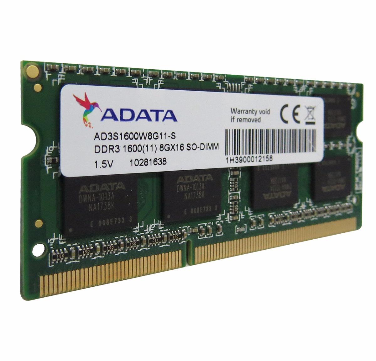 Adata Memoria Ram Para Laptop Ddr3 8gb 1600mhz Sodimm 1 275 00