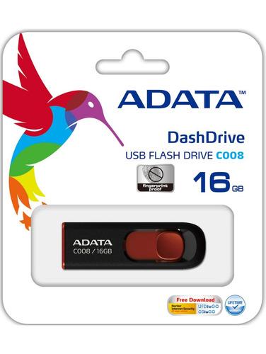 adata memoria usb 16gb flash drive c008 roja ac008-16g-rkd
