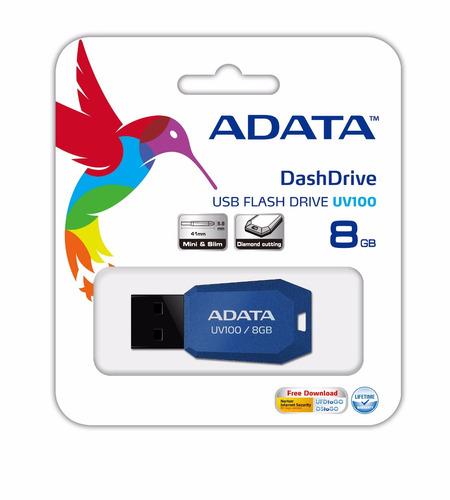 adata memorias usb portatil 8gb perfil fino 2.0 uv100 azul