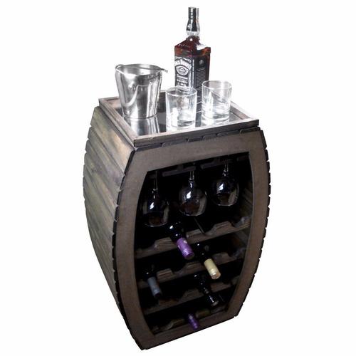 adega bar madeira 15 garrafas 9 taças  aparador espelhado