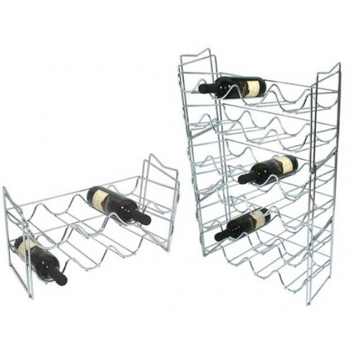 adega empilhável 8 garrafas vinho suporte cromado jomer 8810
