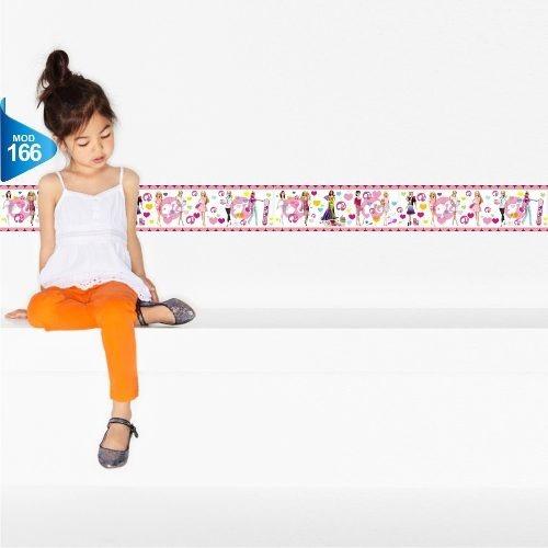 adesivo 123 faixa border infantil menina barbie un mod 166