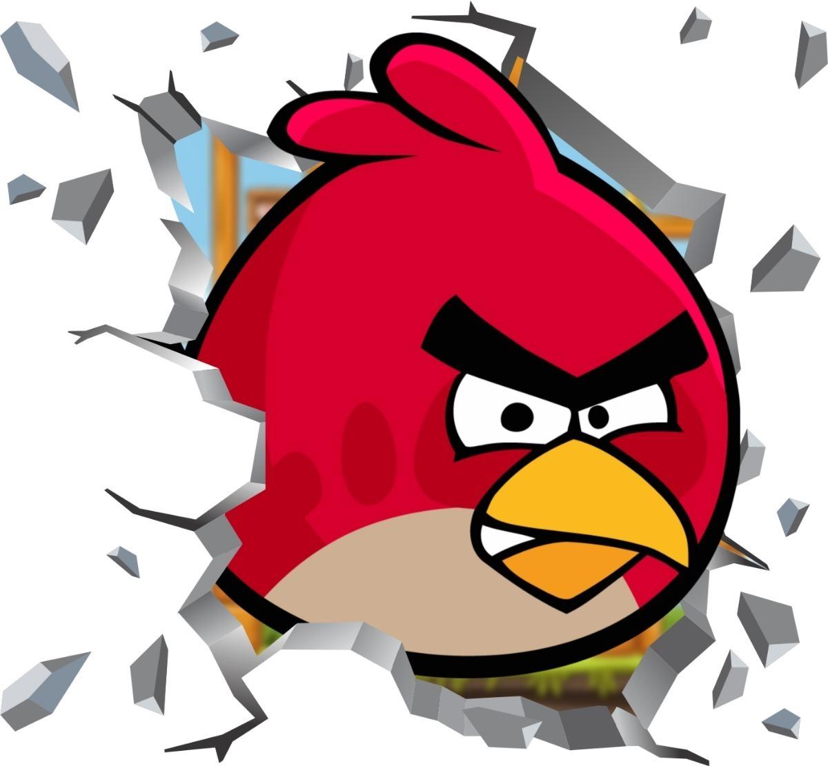 Adesivo 3d Buraco Parede Angry Birds Red Bomba Chuck R 80 60 Em