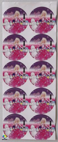 adesivo 4cm - barbie moda magia (30 adesivos)