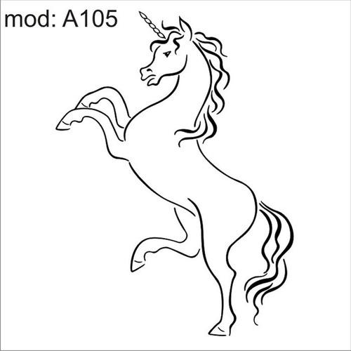 adesivo  a105 unicornio branco xifre na cabeça patas