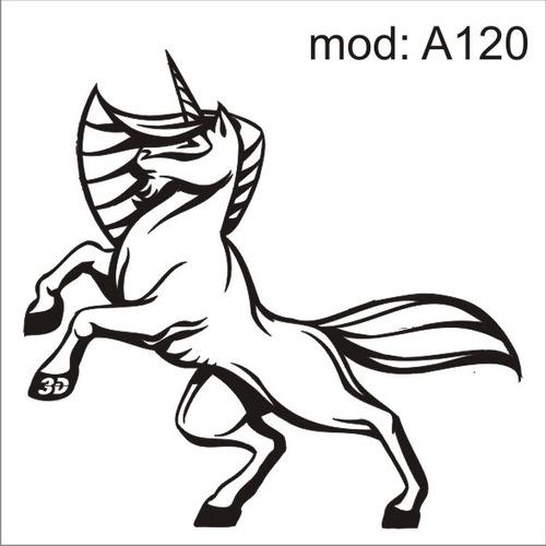 adesivo a120 unicornio cavalo branco com um xifre na cabeça