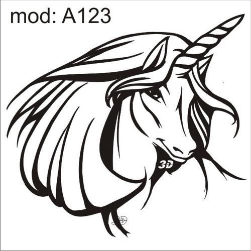 adesivo a123 rosto cabeça de um unicornio com xifre na cabe