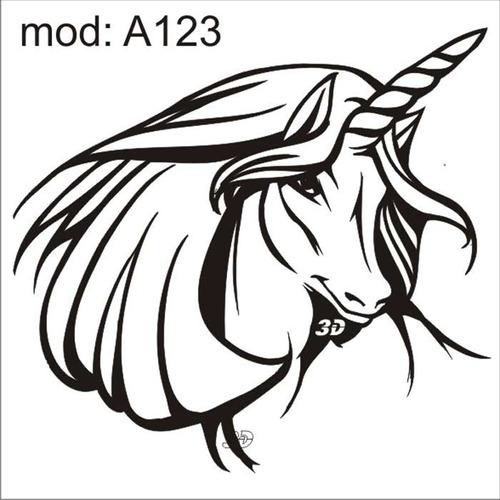 adesivo a123 rosto cabeça unicornio com xifre na cabeça