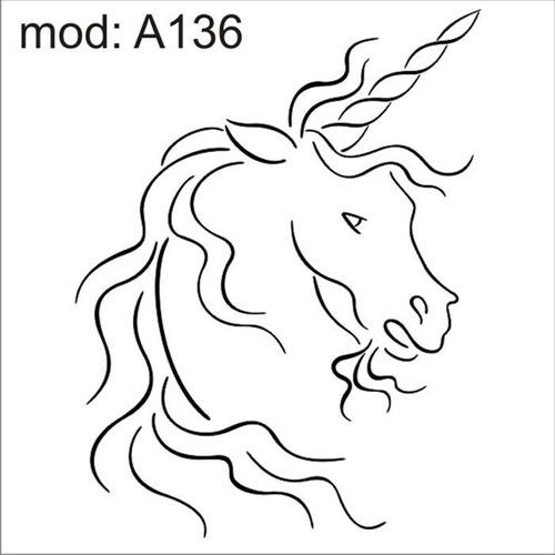 adesivo a136 cabeça rosto de um unicornio branco om xifre