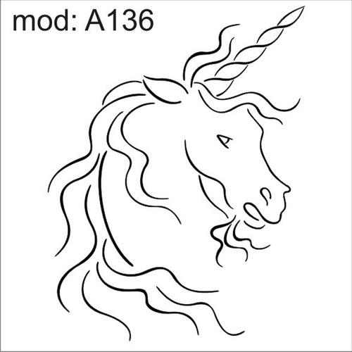 adesivo a136 cabeça rosto de um unicornio branco om xifre n