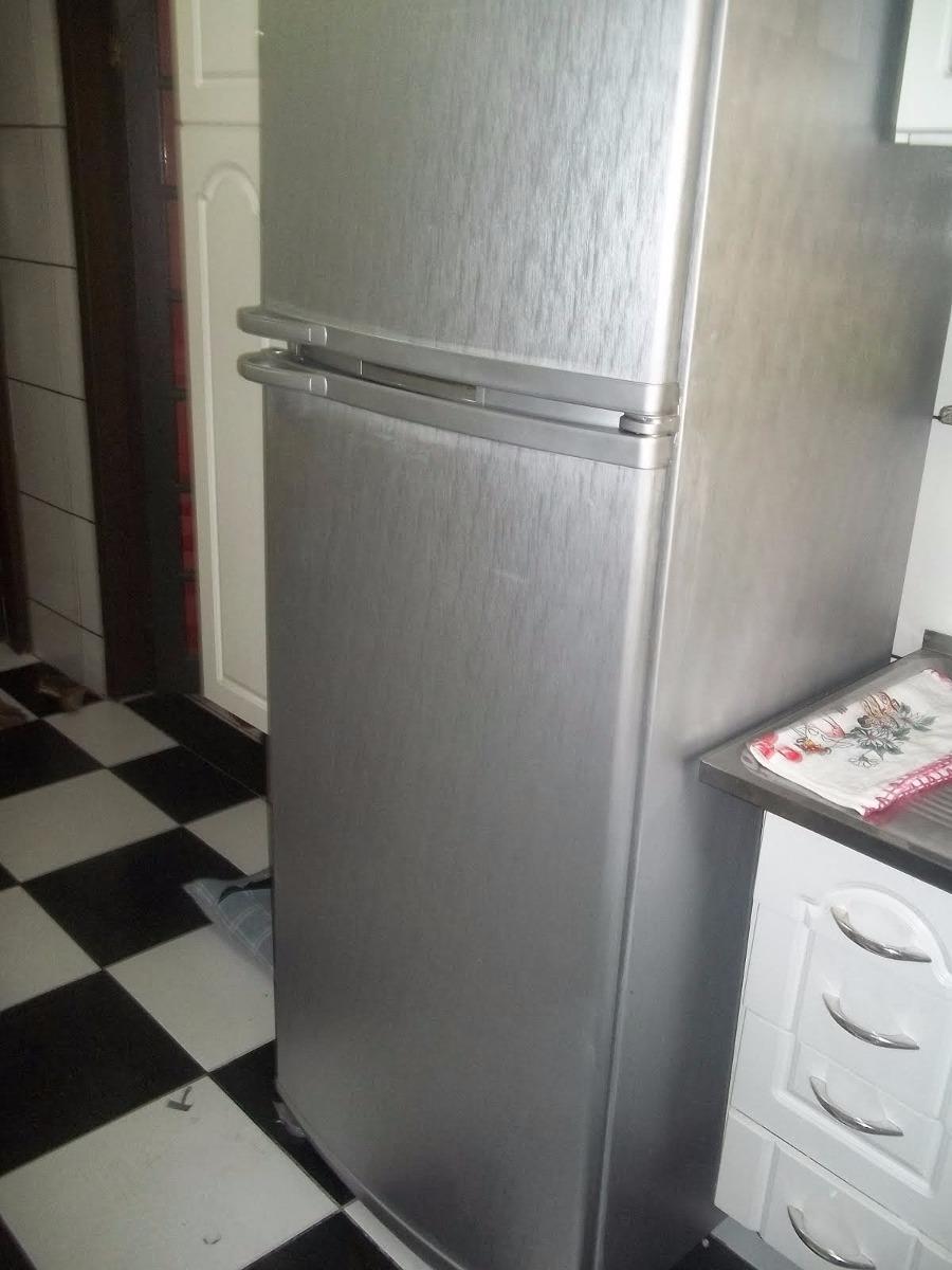 Armario Planejado Para Cozinha Pequena ~ Adesivo Aço Escovado Envelopamento Geladeira Móveis 16mx1m R$ 430,40 em Mercado Livre