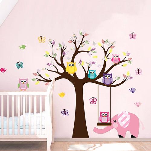 adesivo árvore infantil corujas e elefante (206x161)cm