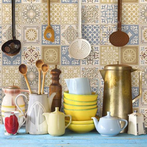 adesivo azulejo 10x10 cm 100un cozinha bege azul amarelo
