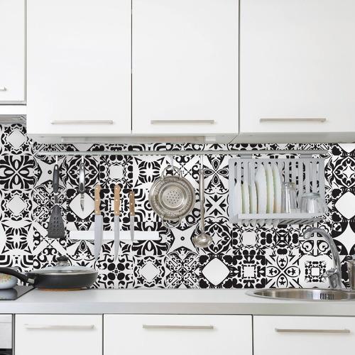 adesivo azulejo 10x10 cm 200un cozinha antigo preto evora