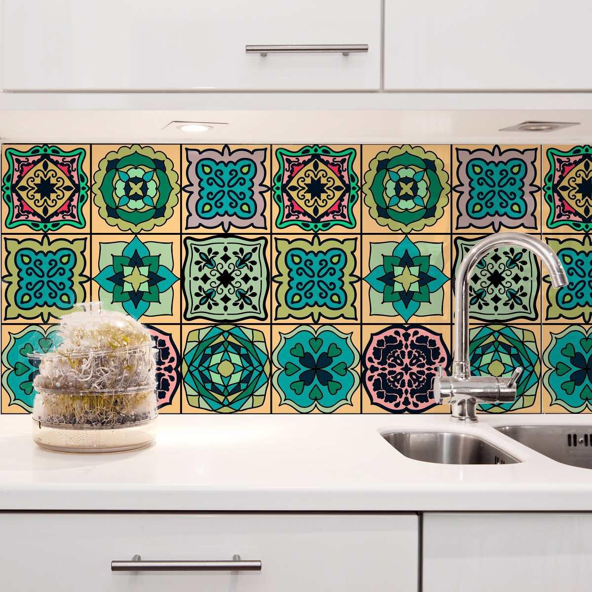 Adesivo azulejo 15x15 36un cozinha verde cantanhede r for Azulejo 15x15