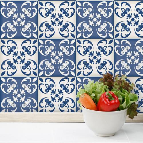 adesivo azulejo 15x15 cm 36un cozinha azul cidade do porto