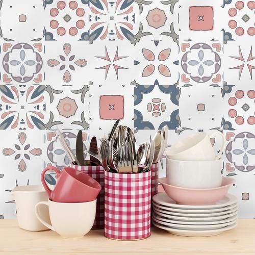 adesivo azulejo 15x15 cm 36un rosa azul marinho cozinha