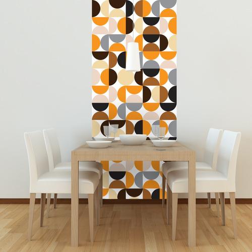 adesivo azulejo 20x20 cm 24un círculos laranja preto cinza