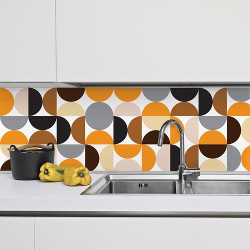 adesivo azulejo 20x20 cm 48un círculos laranja preto cinza