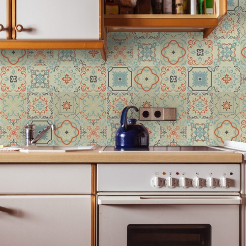 adesivo azulejo 20x20 cm 48un verde e laranja fátima