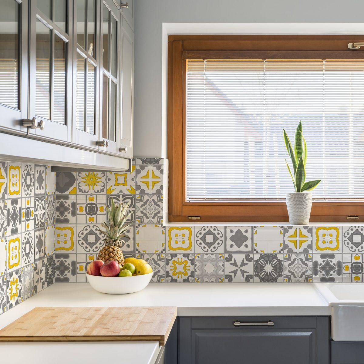 Adesivo azulejo cozinha 15x15 36un vigo amarelo e cinza r 49 90 em mercado livre - Azulejo sobre azulejo ...
