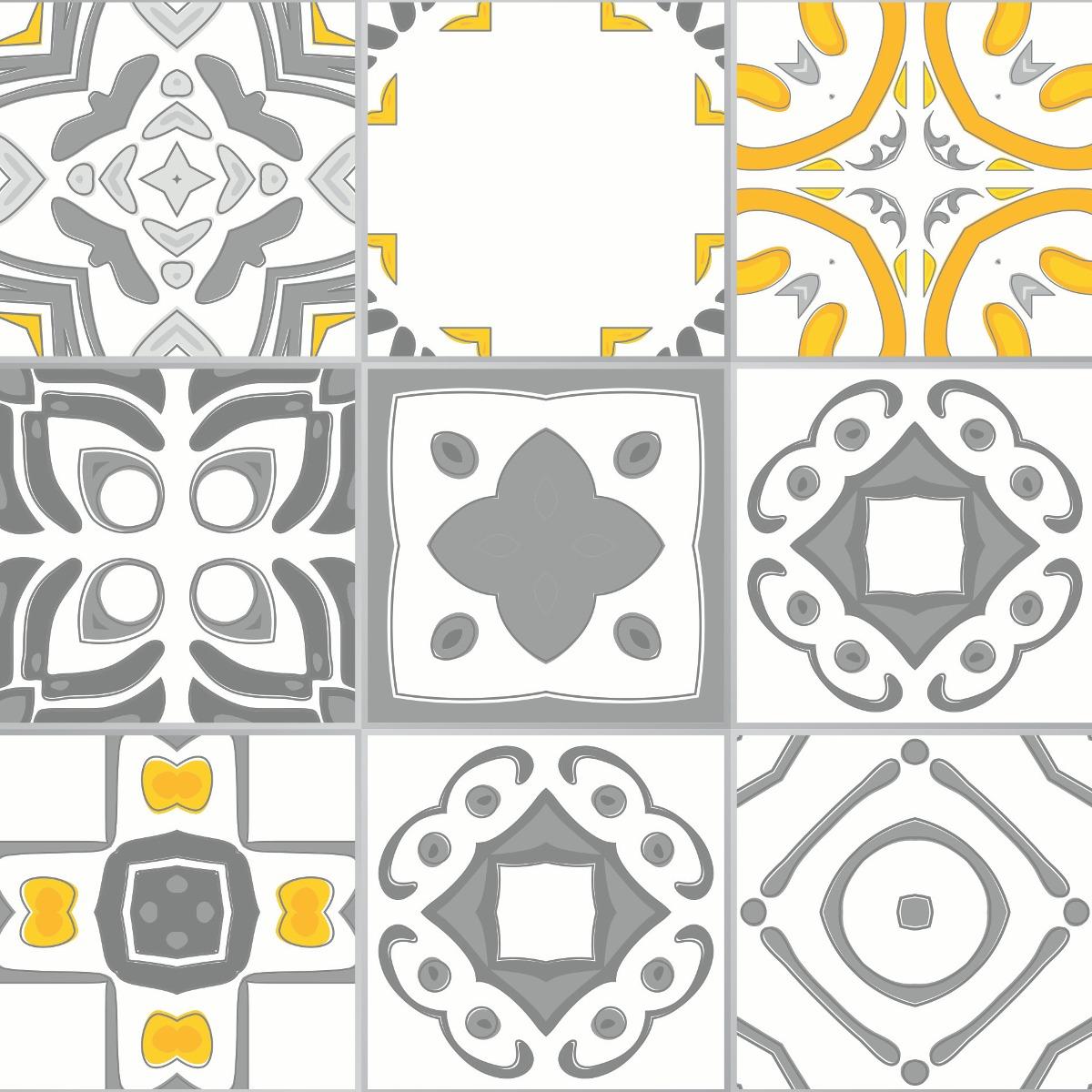 Adesivo azulejo cozinha 15x15 36un vigo amarelo e cinza for Azulejo 15x15