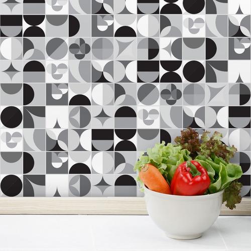 adesivo azulejo cozinha geometrica preto branco 10x10 100un
